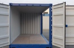 Blue storage container with doors open.
