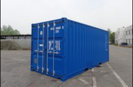 Storage container with closed doors.